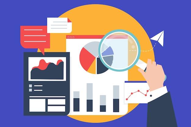 Analyse van bedrijfsprestaties met grafieken Gratis Vector