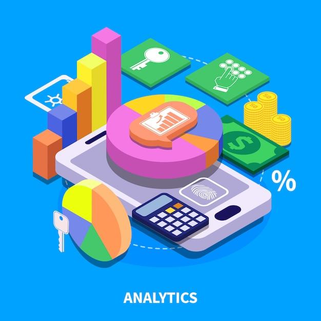 Analytics isometrische illustratie Gratis Vector