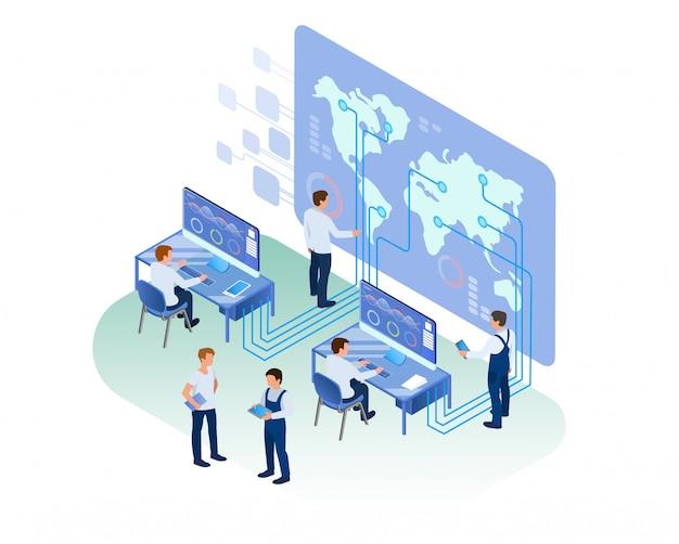 Analytisch centrum medewerkers die op kantoor werken Premium Vector