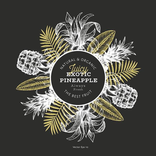 Ananas en tropische bladeren ontwerpsjabloon Premium Vector
