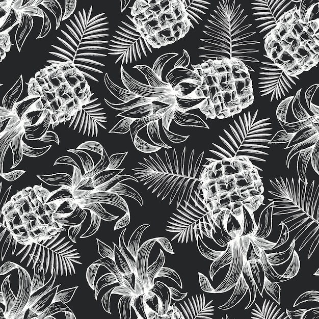 Ananas naadloze patroon. Premium Vector