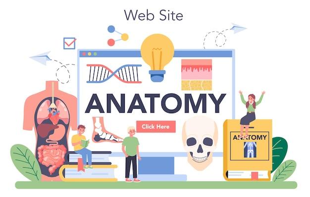 Anatomie online service of platform. intern menselijk orgaan studeren. anatomie en biologie concept. menselijk lichaamssysteem. website. flat vector illustratie Premium Vector