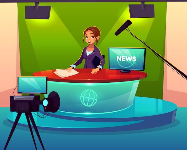 Anchorwoman in de cartoon van de televisiezenderstudio. Gratis Vector