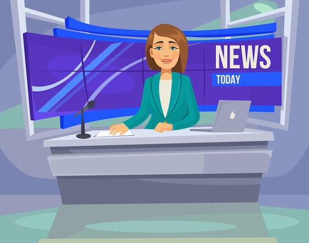 Anchorwoman-personage op tv. belangrijk nieuws. Premium Vector