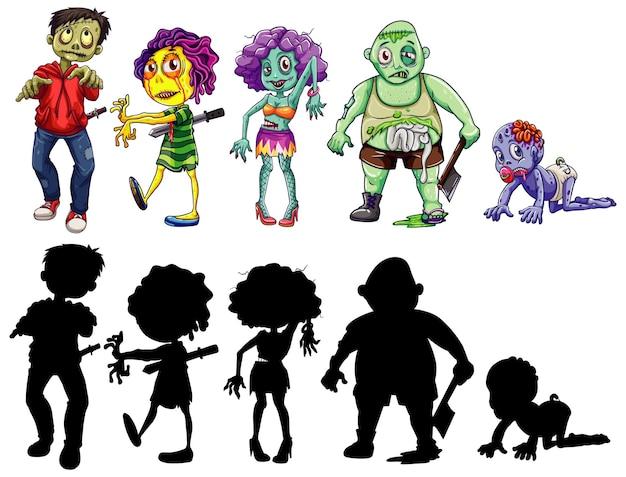 Ander karakter van zombies in kleur en silhouet cartoon stijl geïsoleerd Premium Vector