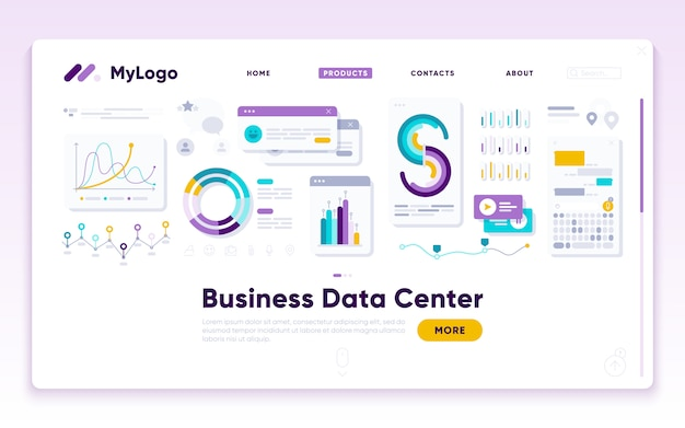 Anding-paginasjabloon. digital marketing analist Premium Vector