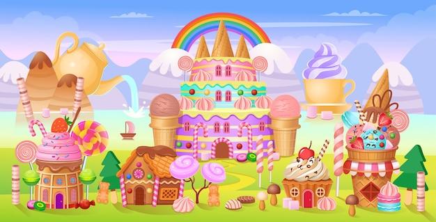Andy-stad met cakekasteel, huizen taarten, ijsjes, snoep, lolly's en koekjes. Premium Vector