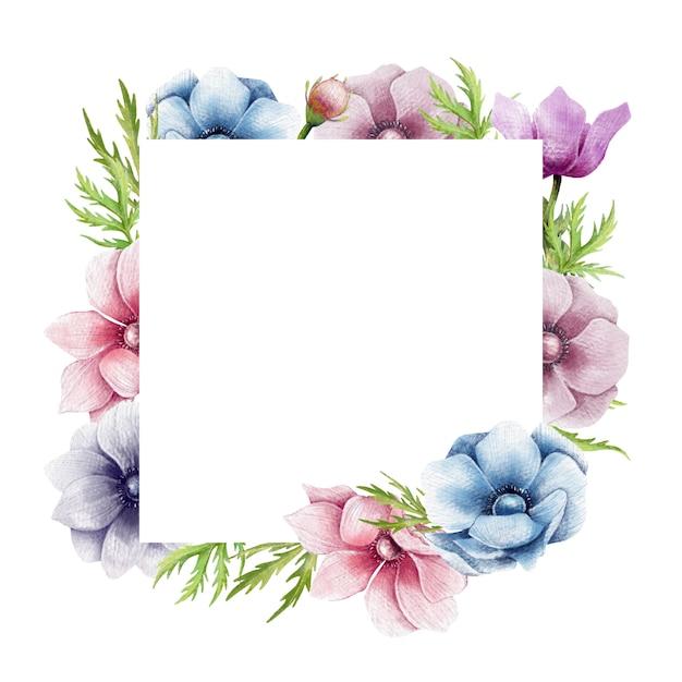 Anemone bloemenlijst Premium Vector