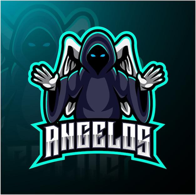 Angel esport mascotte logo Premium Vector