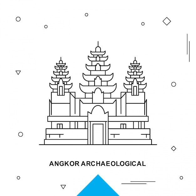 Angkor archaeological Premium Vector