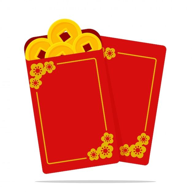 Angpao vector een rode envelop met geld voor kinderen tijdens het chinese nieuwjaar. Premium Vector