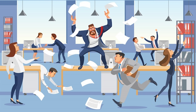 Angry boss shout in chaos office omdat failure deadline. Premium Vector