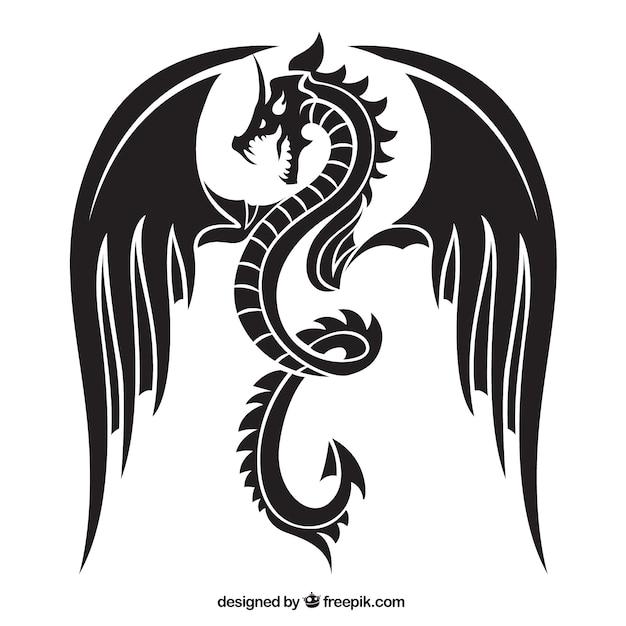 Angry draak silhouet Gratis Vector