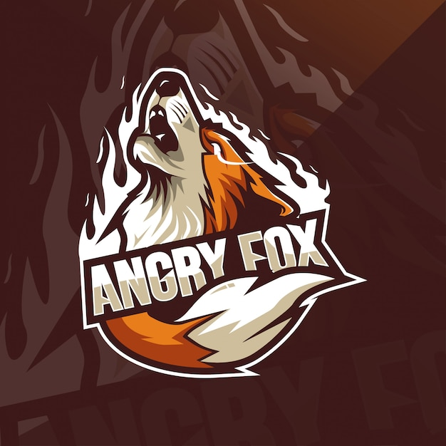 Angry fox mascotte logo sjablonen Premium Vector