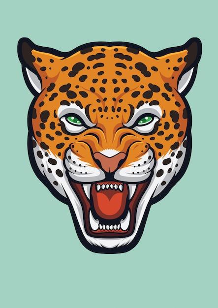 Angry jaguar-gezicht, panthera onca Premium Vector