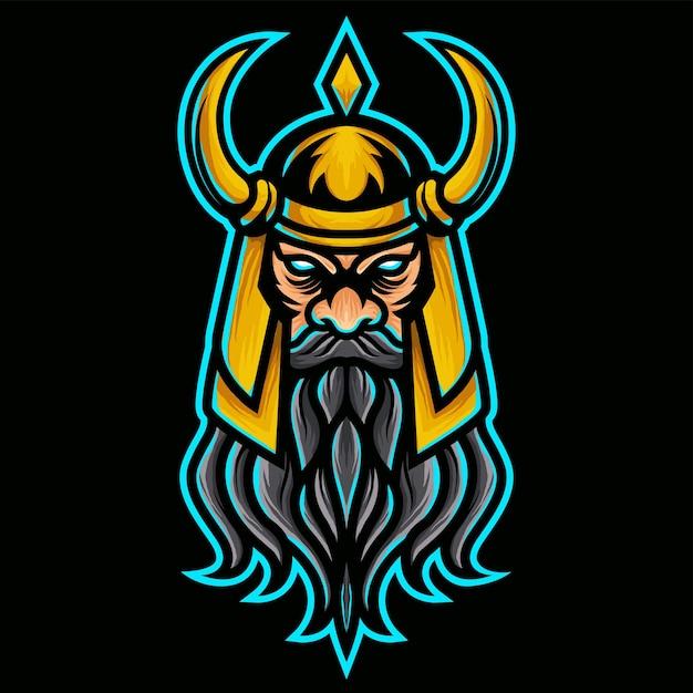 Angry vikings with gold helmet logo Premium Vector