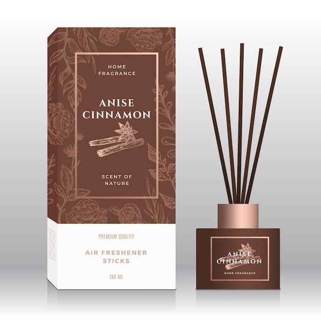 Anijs kaneel huis geur stokken abstracte vak sjabloon. Premium Vector