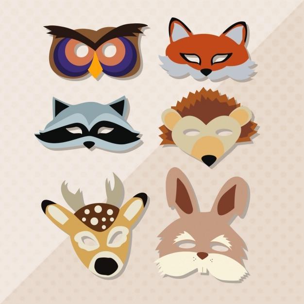 Animal maskers collectie Gratis Vector
