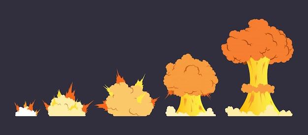 Animatie cartoon explosie-effect Premium Vector