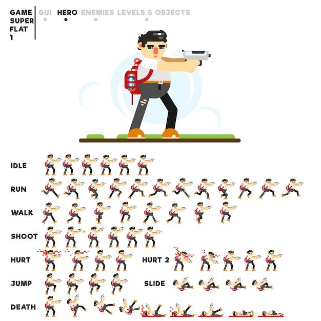 Animatie van een man met een pistool voor het maken van een videogame Premium Vector