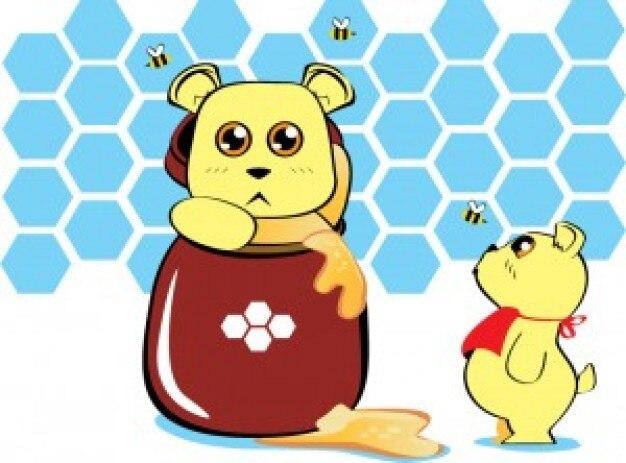 Anime draagt met honing kruik vector Gratis Vector