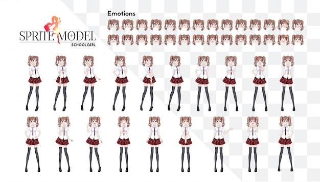 Anime-mangameisje, stripfiguur in japanse stijl. in een wit overhemd, een rode rok in een kooi, een das en zwarte kousen. sprite karakter van volledige lengte voor game visuele roman. set van emoties. Premium Vector