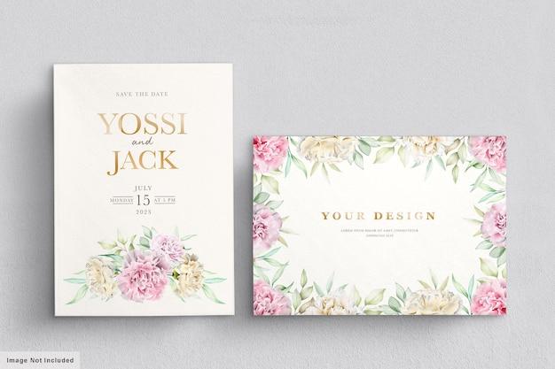 Anjer bloemen uitnodigingskaart Gratis Vector