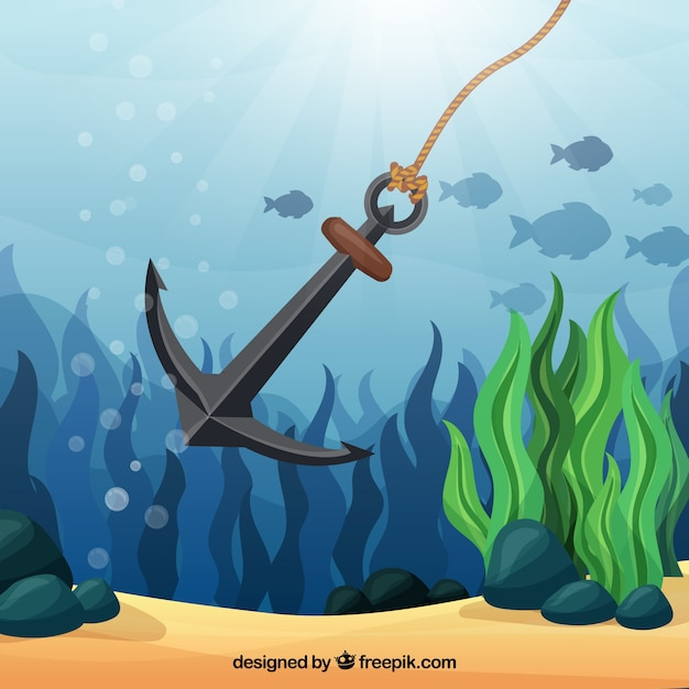 Ankerachtergrond met vissen Gratis Vector