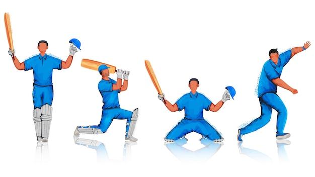 Anonieme cricketspelers met geluidseffect in verschillende poses. Premium Vector