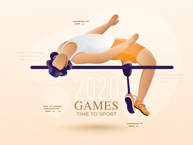 Anonieme gehandicapte mens hoogspringen dwarsbalk op patel peach achtergrond voor game time to sport. Premium Vector