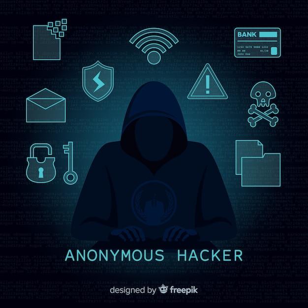 Anonieme hacker concept met platte ontwerp Gratis Vector