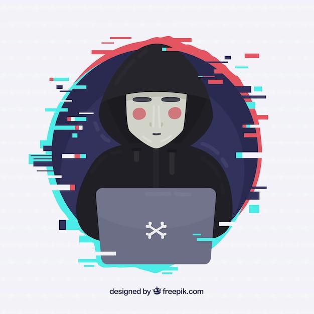 Anonieme hacker met plat ontwerp Gratis Vector