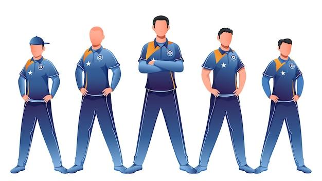 Anonieme karakter van cricketteam in staande houding. Premium Vector