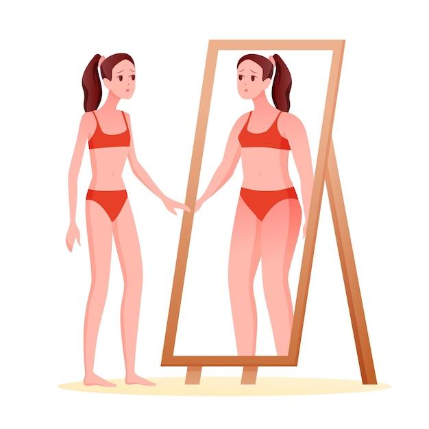 Anorexia eetstoornis concept. cartoon slim verdrietig meisje in spiegel kijken vet overgewicht lichaam zien Premium Vector