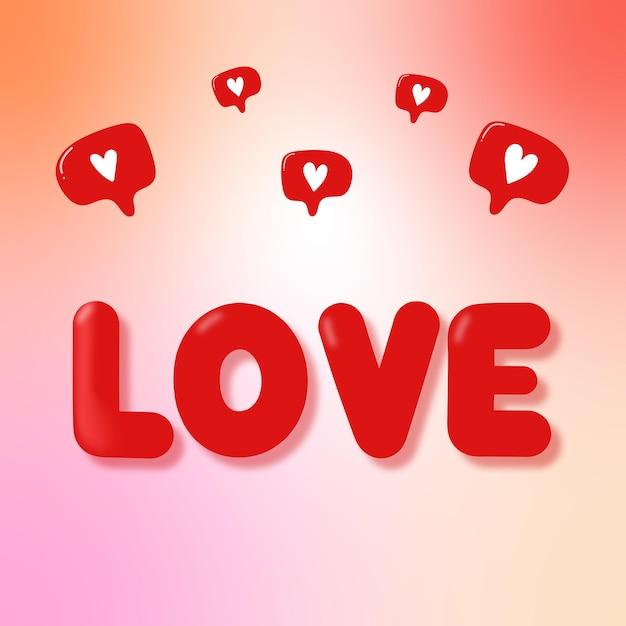 Ansichtkaart met de inscriptie love and likes Premium Vector