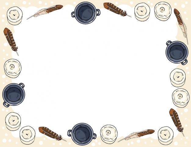 Ansichtkaartsjabloon met kaarsen, veren en ketels komische stijl doodles Premium Vector