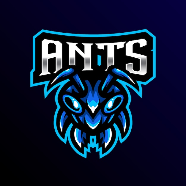Ant mascotte logo esport gaming illustratie Premium Vector