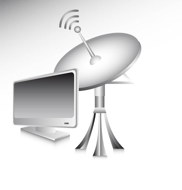 Antenne met computer over grijze achtergrond vectorillustratie Premium Vector
