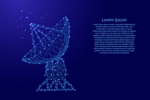 Antennesatelliet parabolische ruimteradar van futuristische veelhoekige blauwe lijnen Premium Vector