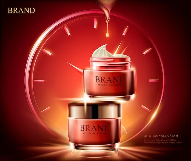 Anti-rimpelcrème advertenties, cosmetische rode zalfpotje met lichteffect samengesteld uit klok in afbeelding, rode achtergrond Premium Vector