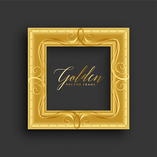Antiek uitstekend gouden frame Gratis Vector