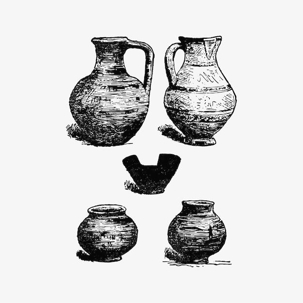 Antieke aardewerkset Gratis Vector