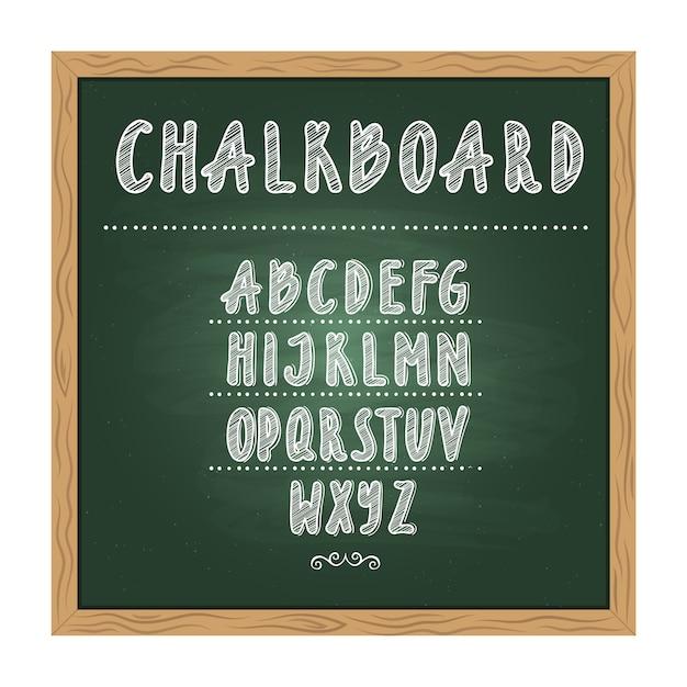 Antieke kind school schoolbord met groene textuur en hand alfabet op het schrijven. vector doodle wr Premium Vector