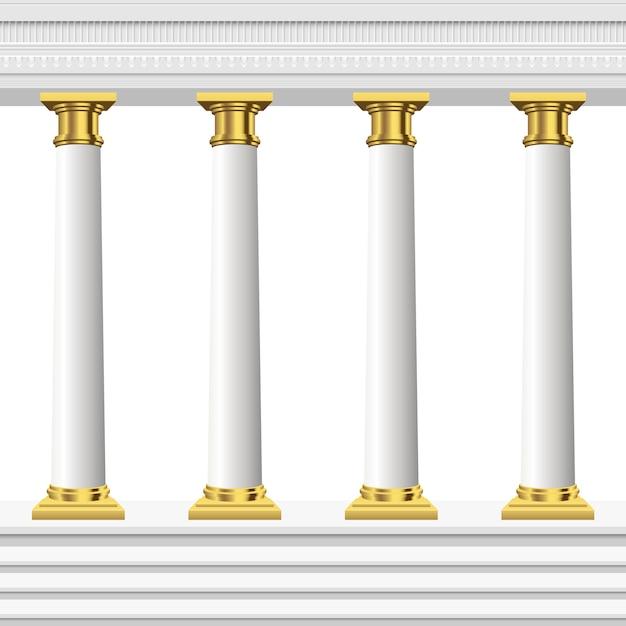Antieke kolommen geïsoleerd Premium Vector