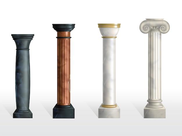 Antieke kolommen instellen. oude steen of marmeren klassieke overladen pijlers van verschillende geïsoleerde kleuren en texturen. romeinse of griekse geveldecoratie. realistische 3d vectorillustratie Gratis Vector