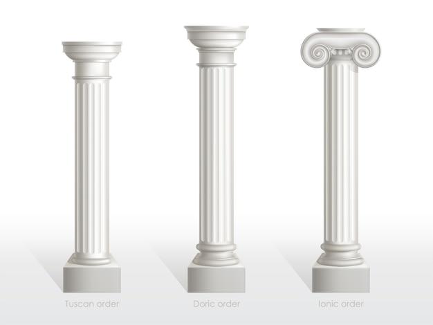 Antieke kolommen set van toscaanse, dorische en ionische orde geïsoleerd. oude klassieke sierlijke pijlers van romeinse of griekse architectuur voor gevel decoratie realistische 3d vector illustratie Gratis Vector