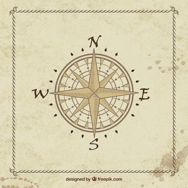 Antieke kompas reizen Gratis Vector