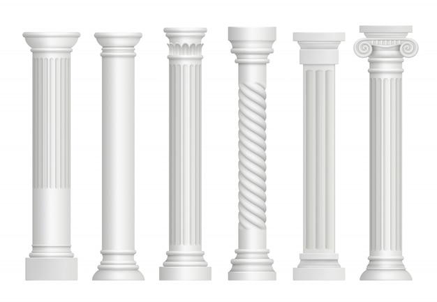 Antieke pilaren. griekse historische rome klassieke kolommen realistische vectorillustraties Premium Vector