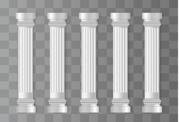Antieke witte kolommen. romeinse kolom, griekse pijler. Premium Vector
