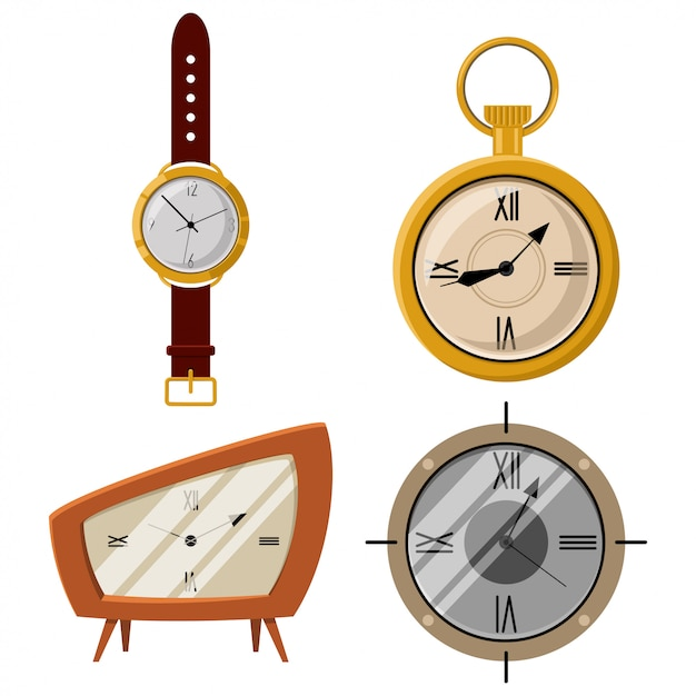 Antieke zakhorloge en klok vectorbeeldverhaalpictogrammen geplaatst die op witte achtergrond worden geïsoleerd. Premium Vector